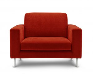red modern upholstered chair